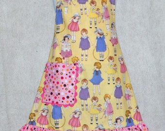 Paper Dolls Little Girl's Apron,  Personalized With Name, No Shipping Charges, Ready To Ship TODAY, AGFT 468