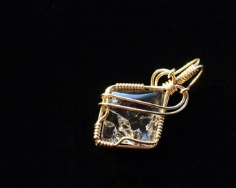 RESERVED for TREVOR - Covellite Included Quartz - Gold Wire-Wrapped Pendant Necklace Jewelry