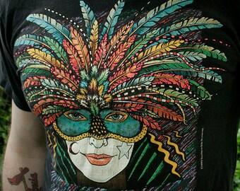 1990's - Mardi Gras Festival - New Orleans, Louisiana, colorful costume mask celebration creole southern unisex t-shirt - men's sz S/M