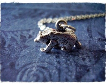 Silver Bear Necklace - Sterling Silver Bear Charm on a Delicate Sterling Silver Cable Chain or Charm Only