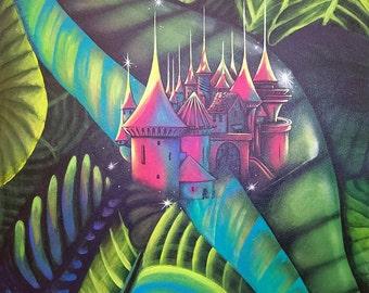 "Art Original Painting   Surreal Landscape & Scenic ""Castle into Heart"""