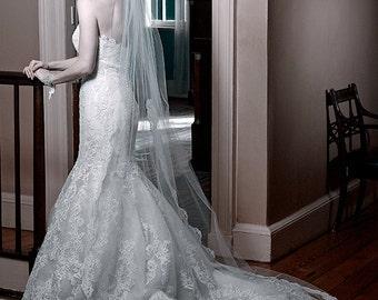 Wedding veil - Vintage Bridal Alencon Lace Wedding Veil