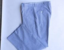 Blue White Lightweight Seersucker Pants | Vintage Cotton Flat Front Pinstripe Pants | 34 inch waist Large Men
