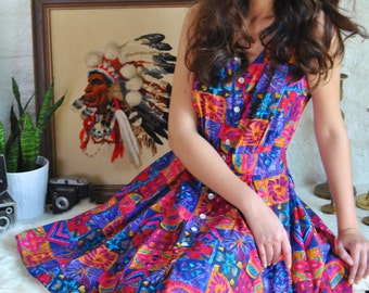 Vintage Floral Dress 80s Bright Abstract Dress Full Circle Skirt Sleeveless Sun Dress M