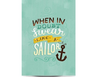 A3 Art Print - 'Swear Like a Sailor' - Typography / Hand Lettering / Illustrated Quote / Illustration / Funny Print