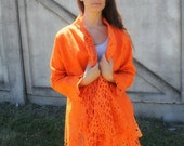 Felted orange summer jacket Alar lace handmade original exclusive wraps comfortable Regina Doseth handmade in Lithuania Europe XL large