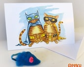 """Bat Cat and Robin - 7"""" x 4.5"""" blank card & envelope - Two cats dressed up like Batman and Robin"""