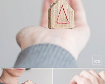 Wooden Necklace · Home Necklace. Wooden Jewelry.  Pink. Housewarming. Eco Friendly Jewelry. Gift of a memory home of your childhood