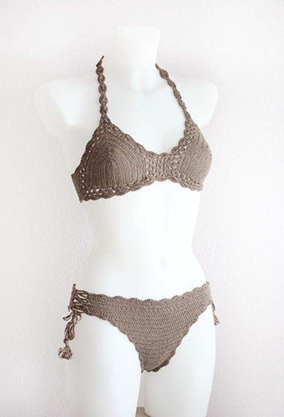 set di bikini alluncinetto con nappe boho crochet top bikini costume da
