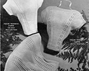 """Quick and Simple Summer Jumpers Bust 34"""" to 38"""" Hedge Nook 24 Vintage 1950s Knitting Pattern Pdf Download"""