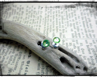 Little Sparklers©. Celery Green Crystals and titanium post earrings. Darling petite crystal stud earrings. Hypoallergenic. LightSpring green