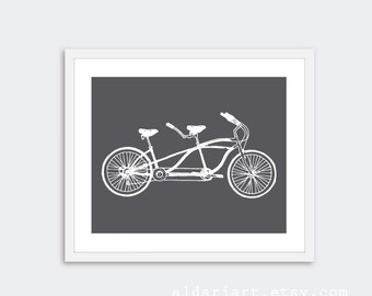 Tandem Bike Art Print - Bicycle Print - Bike Wall Art - Home Decor - Charcoal Grey