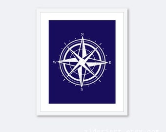 Compass Art Print - Navy Blue and White Compass Art Print - Nursery Decor - Travel Art