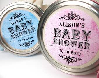 Vintage Baby Boy Girl Shower canning jar labels, custom round stickers for mason jars, shower favors, pink blue green neutral colors