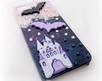 Bat castle phone case, creepy cute iPhone case, kawaii spooky customized phone case, pastel goth smartphone case