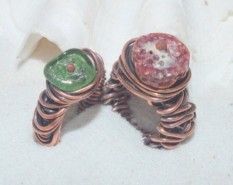 Sea Glass Ring - Beach Glass Ring - Copper Ring - Lake Erie Beach Glass