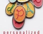 Embroidery Initial necklace Personalized Jewelry Gifts Women Initial Jewelry Hand Stitched Letter Pendant Personalized Gift
