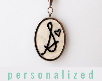 Handwriting Jewelry. Gifts for her under 50. Initial Necklace. Hand Embroidery. Personalized Jewelry. Letter necklace. Gifts for mom