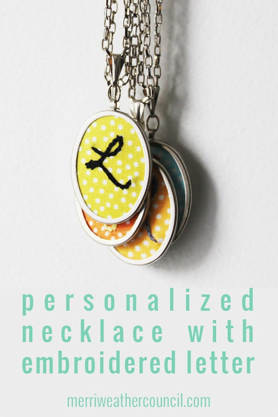 Initial Jewelry. Personalized Gifts Embroidery Pendant. Personalized Necklace. Colorful Monogram Gifts. Letter Necklace. Gifts for Teens.