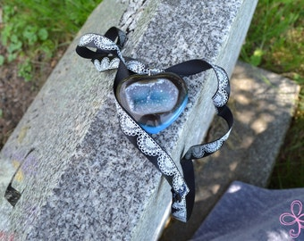 Black and Blue Heart Drusy Necklace