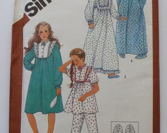 Vintage 1980s Girls Pajamas, Nightgown in Two Lengths, Robe and Slippers Size 8-10 Simplicity Pattern 6132 UNCUT