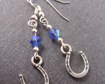 Horseshoe Earrings with Blue Crystals, Nickel Free, Hypoallergenic, Equestrian, Horse, Equine, Pet, Jewelry
