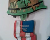 "Military/ USA pendulum wall clock ""If you can't STAND behind our troops. STAND in front of them!"""