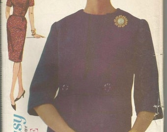 1960s Sheath Dress and Jacket Jewel Neck Princess Seams Easy to Sew Advance 3076 Uncut FF Bust 36 Women's Vintage Sewing Pattern