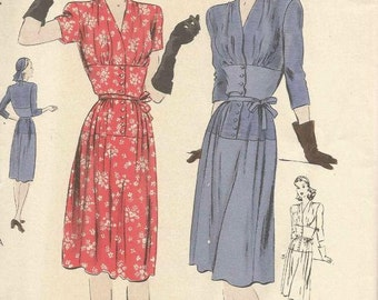 1940s V Neck Dress Wide Mid-Section Sleeve Variations Front Button Closing Vogue 9796 Uncut FF Sz 16 Bust 34 Women's Vintage Sewing Pattern