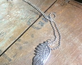 Wing Charm Necklace - 24 inch - long - charm - pendant - 2.4 mm ball chain - silver toned - fly - feather - sky - men women unisex