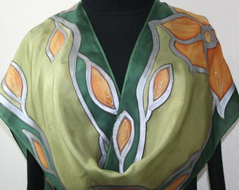 Hand Painted Silk Scarf. Olive Green & Terracotta Handmade Scarf OLIVE TRIBE. Size 11x60 in. Silk Scarves Colorado. Hand Dyed. 100% silk.