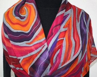 Handpainted Silk Scarf. Pink, Purple, Orange Handmade Silk Shawl  SUN CATCHER. Large 14x72. Birthday, Mother Gift. Gift-Wrapped.