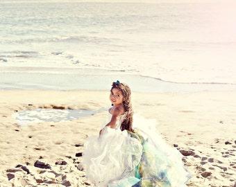 Lace Flower Girl Dress--Detachable Color Accented Train--Weddings--Portraits