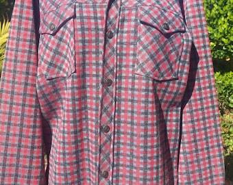 Donegal plaid mens outdoorsman shirt jacket size medium double knit red black grey plaid rustic hipster coat vintage 70's