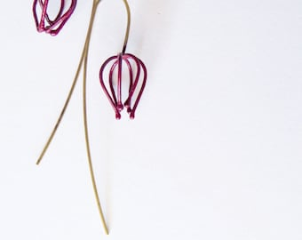 A lonely wireframed Physalis pair of earrings, abstracted simple earrings