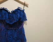 1980s Prom Dress blue and purple offbeat punk rock cocktail party M
