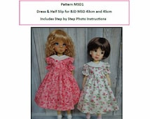 Pattern MSD1 Dress and Half Slip for BJD MSD Fit to Kaye Wiggs MSD 45cm and 43cm