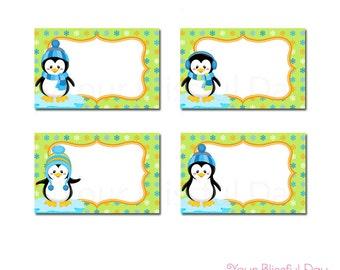 PRINTABLE Boy Penguins Label Tents #708