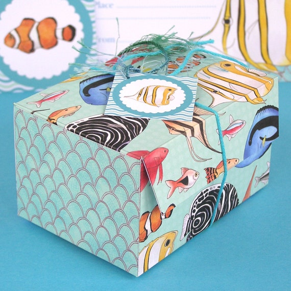 Fish printable gift or favour box aquarium by hfcsupplies for Fishing gift box