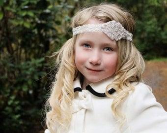 rhinestone headband, rhinestone lace headband, baby headband,  bridal headband, baptism headband, photo prop