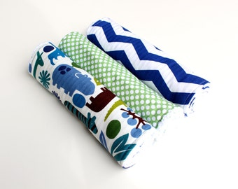 Baby Boy Burp Cloths Set of Three -Alexander Henry 2D Zoo, Green Polka Dots, Blue and White Chevron - Chenille Burp Cloth Set -Baby Boy Gift