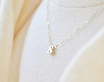 Gold Tiny Alphabet Necklace - Block Letter Necklace, Tiny Letter Necklace, Small Letter Necklace, Lowercase Letter Necklace,Initial Necklace