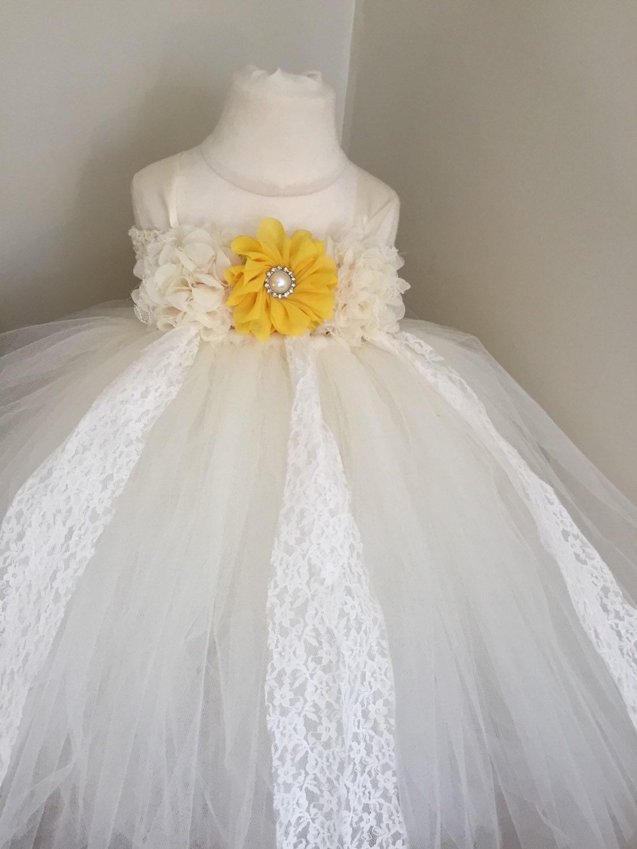 Yellow and ivory flower girl dress yellow flower girl dress