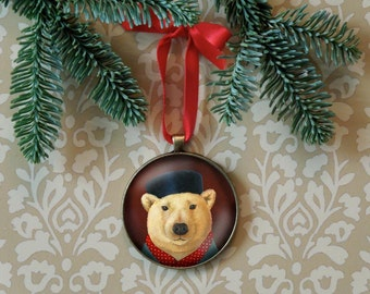 Polar Bear Ornament, Christmas Ornament, Retro Christmas, Retro Polar Bear, Christmas Animal Ornament, Stocking Stuffer, Secret Santa Gift