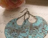 Blue Patina Earrings, Half Moon, Chandelier Earrings, Aqua, Bohemian, Crescent Shape, Tribal, Moroccan, Statement Earrings