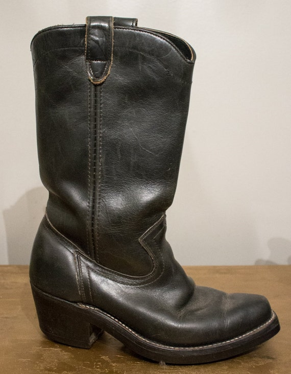 vintage black all leather work cowboy by