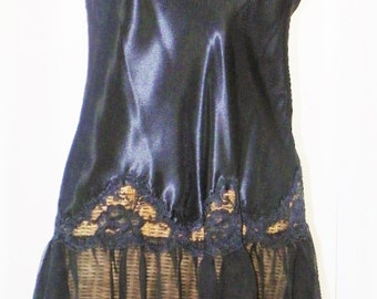 """Cline Star Black Nightgown Sheer 10"""" Skirt Scalloped Lace Deadstock New Vintage 3.5"""" Lace 76"""" Sweep Size 38"""