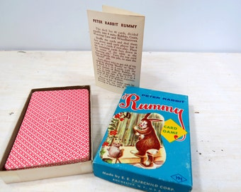 Peter Rabbit Rummy Card Game Child  Vintage E. E. Fairchild Corp 1950s