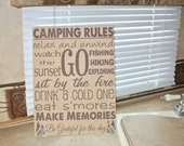 Camping Rules custom burlap wall hanging sign RV trailer decor subway art - also great for cabin, lake, resort