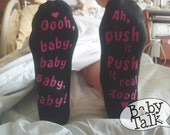Labor and Delivery ready to push funny maternity socks - perfect for pregnancy hospital bag or baby shower gift